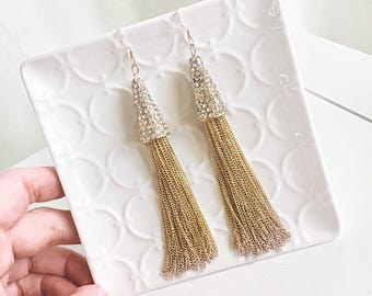 Gold Tassel Earrings with Pave Crystal Beaded Cap