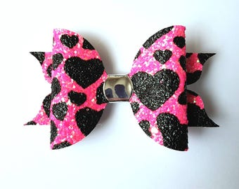Pink and black valentines heart hair bow - glitter hair clip - girls hair accessory