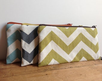 Green Chevron Pencil Case, Sage Green Cosmetic Pouch, Zipper Pouch, Back to School, Green and Brown