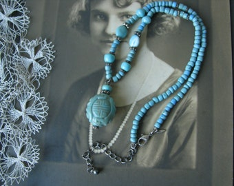 Vintage 1990's Avon Faux Turquoise Beaded Necklace, Vintage Avon Necklace, Faux Turquoise Necklace