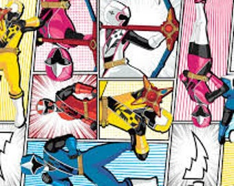 "Packed Ninja Steel Power Rangers fabric for Springs Creative, by the half yard, 43"" wide, 100% cotton, cartoon fabric, character fabric"