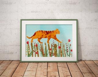 Whimsical Orange Tabby Cat Print, 10 x 8, Children wall decor, Nursery art, Cat lovers, Blue sky, Red roses, Grass, Art, Illustration, uk
