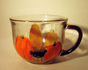 Hand Painted Tea Cup With Pumpkins and Crows