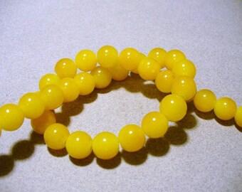 Jade Glass Beads Golden Yellow  Round 10MM