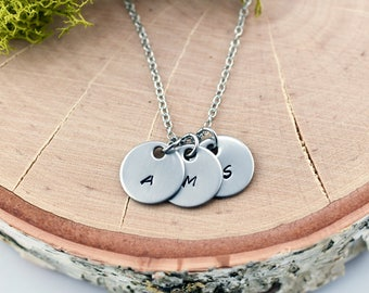 Small Silver Initial Necklace for Her, Dainty Pendant for Mom from Kids, Personalized Initial Mother's Necklace, Rustic Brushed Silver