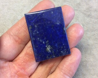 Lapis Lazuli with Pyrite Rectangle Shaped Flat Back Cabochon - Measuring 30mm x 39mm, 8mm Side Height - Natural High Quality Gemstone