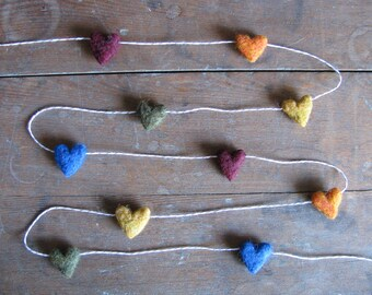Felt heart garland, Deep Rainbow, on tan striped baker's twine, 6ft, rainbow heart garland, heart theme decor, Valentine party decoration