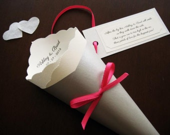 Wedding Toss, Favor Cone with Tag & Ribbon, Custom Colors, Fonts for Petal, Confetti, Candy, Chair, Ceremony, Send Off - Bistro Collection