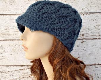 Knit Hat Womens Hat Blue Newsboy Hat - Amsterdam Beanie with Visor in Denim Blue Knit Hat - Blue Hat - Womens Accessories