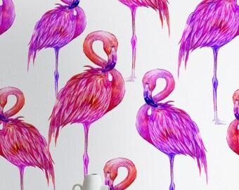 Pink Watercolor Flamingo Wallpaper, Flamingo Peel & Stick Wallpaper, Exotic Wall Decal, Renters Wallpaper, Flamingo Pattern, 275