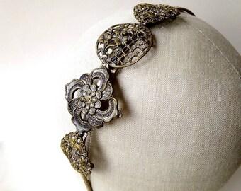 Side tiara hair band fascinator with vintage & antique motifs ~ old gold ~ aged ~ floral art nouveau ~ Edwardian Steam Punk Bridal