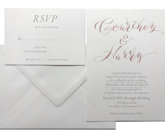 Cheap rose gold wedding invitations! Alternative to rose gold foil. Hand written rose gold wedding invitations. Modern rose gold invitations