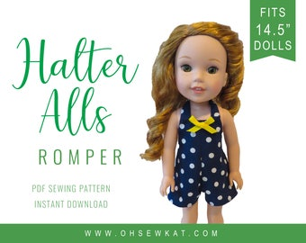 "Wellie Wishers Doll Clothes Sewing Pattern fits 14.5"" dolls like WellieWishers™ HalterAlls Romper - epattern Easy to Sew for dolls OhSewKat"