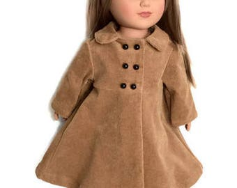Camel Doll Coat, 18 Inch Doll Corduroy Doll Coat, Winter Doll Clothes
