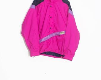 Retro ski windbreaker   NEON Ski Snowboard Anorak   Fluo pink jacket   90's Windbreaker   Colorful 90's vintage windbreaker  90's anorak
