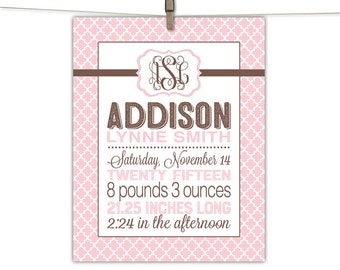 Baby birth announcement canvas - birth stats canvas or print - baby girl nursery - pink and brown nursery - personalized gift for baby girl