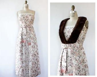 60s Brocade Dress M • Fur Trim Dress • Satin Evening Dress •Vintage Ball Gown • 60s Evening Dress • 60s Two Piece  | D1786
