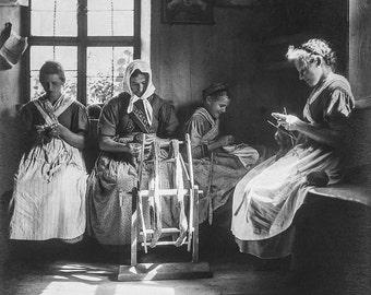 "Rudolph Koppitz Photo, ""Fleissige Hande"" knitting circle, 1930s"