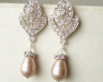 CHAMPAGNE Pearl Wedding Earrings, Vintage Style Bridal Earrings, Art Deco Style Champagne Pearl Earrings, Rhinestone Earrings, IVANA