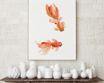 Goldfish Watercolor Painting, Pisces Zodiac Sign, Orange Red Fishes Home Decor, Gold Fish Art Print Veiltail Colorful Nursery Wall Poster
