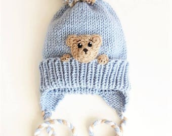 Teddy Bear Hat, Toddler Winter Hat, Kids Hat, Earflap Hat, Pom Pom Hat, Knit Winter Hat, Boys Hat, Cute Girls Outfit,  Animal Hat, Bear Hat