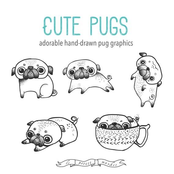 Mano dibuja lindo Pug Clipart ilustración Digital, para imprimir ...