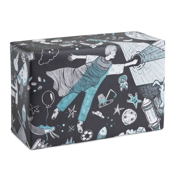 PIETRO VUOLE VOLARE. Kids wrapping paper. Black and turquoise. Wall art. Sci fi. Space. Gift wrap for little brother, for Peter.
