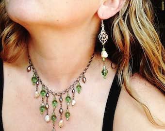 Mermaid Statement Bib Necklace in Green Glass, Mother of Pearl, and Pearl