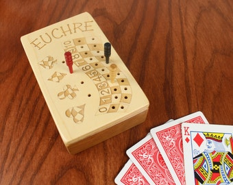 DISCONTINUED STYLE - Euchre is a lot like sex... Euchre Score Counter, Solid Wooden Euchre Counter Set -Laser Engraved, Masterpiece