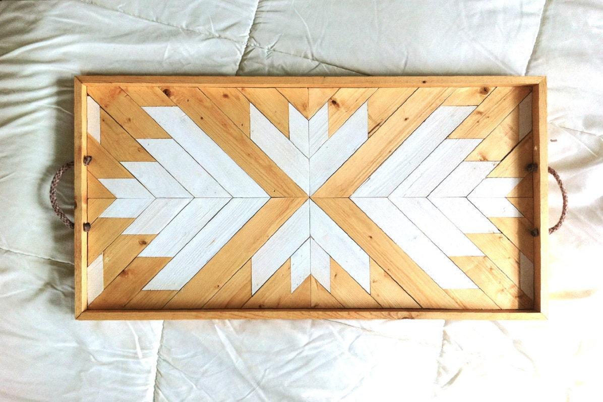Wood Serving Tray Geometric Serving Tray Wood Breakfast