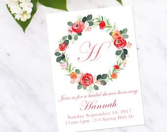 Bridal Shower Invitation-Floral-Bride- Baby Shower -Garden Party-Bridal-Elegant-Coral-Pink-Calligraphy-Digital-JenKCalligraphy
