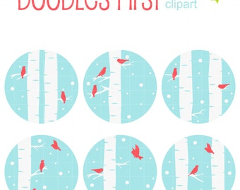 Winter Birds And Trees Clip Art for Scrapbooking Card Making Cupcake Toppers Paper Crafts