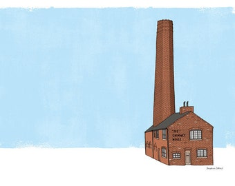 The Chimney House Kelham Sheffield - A3 Illustration Print - Sheffield Gift - Sheffield Architecture - Black White Brown Blue - Line Drawing