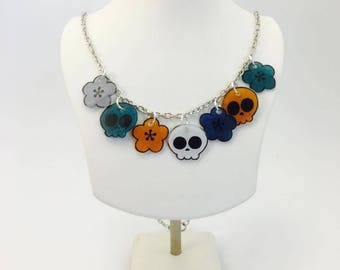 necklace, skull necklace, necklace, halloween, skull necklace