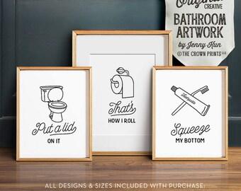 Funny Wall Art, Bathroom Art, PRINTABLE Art, Set Of 3, Bathroom Wall