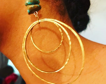 Triple Threat Brass Hoops