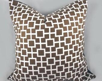 Robert Allen - Decorative Pillow Cushion Cover - Accent Pillow - Throw Pillow - Latticescape Java, Chocolate, Brown - 20 x 20 Inch