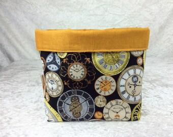 Clocks Fabric basket storage bin box watches Time