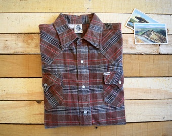 KENNINGTON Men's XL Plaid Cotton Flannel Pearl Snap Western Shirt Brown Red Black Long Sleeve