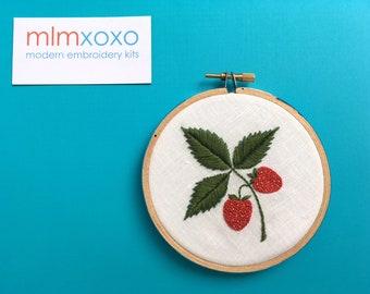 "Embroidery KIT by mlmxoxo.  Strawberry.  modern embroidery.  fruit.  diy needlework kit.  needle craft.  4"" hoop art hand embroidery kit."