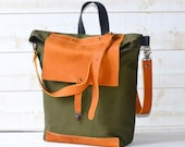 Forest Green Canvas Messenger bag ,Day bag ,crossbody bag, bike bag,travel bag with leather bottom and leather strap