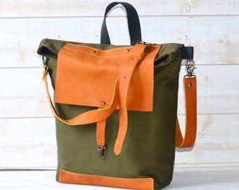 Forest Green Canvas bag, Messenger bag, Graduation gift, gift for him, canvas bag, Back to school bag, crossbody bag, bike bag, travel bag