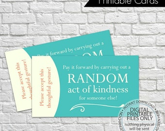 Printable Random Act of Kindness Cards, RAOK, Pay It Forward, DIY Printable, Calling Cards, Random Acts - Aqua