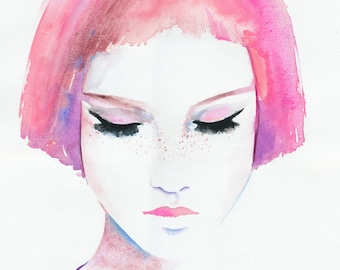 Pink Hair Girl Print, Fashion Illustration, Watercolor Fashion Illustration, Girl with freckles Print, Aquarelle fashion, Fashion Poster