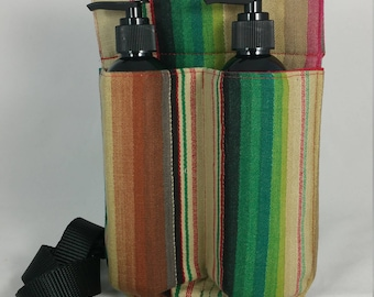 Massage Therapy double 8oz lotion bottle hip holster, woven stripes, black belt