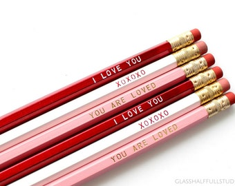 Valentine's Day Gift for Kids, Valentines Decor, Valentine Pencils, Valentine's Day Gift for Her, Girlfriend Gift, Wife Gift, Romantic Gift