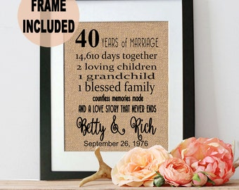 40th Anniversary Gift, 40th Wedding Anniversary Gift, 40 Years of Marriage, Handmade Gift for Parents,  Parents Anniversary Gift, Framed 40