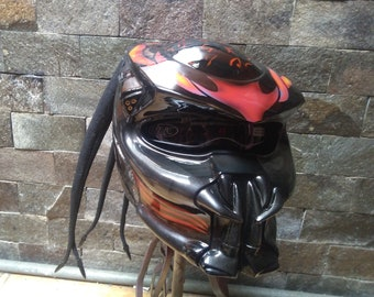 Fire Predator Helmet Street Fighter for Motor Biker - DOT Approved