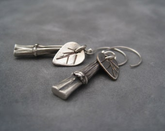 Silver Bamboo Earrings - Silver Dangles - Bamboo and Leaves Earrings - Stick Earrings - Handcrafted earrings - Nature Inspired Jewelry