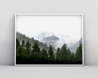 Green Woodland Printable, Modern Wall Art, Digital Print, Forest Poster, Into The Woods, Home Decor, Best Seller, Living Room, Bedroom Decor